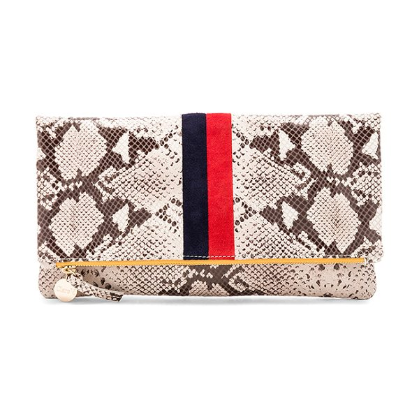 CLARE V. Foldover Clutch in tan navy & red - Snake embossed leather exterior with cotton fabric...