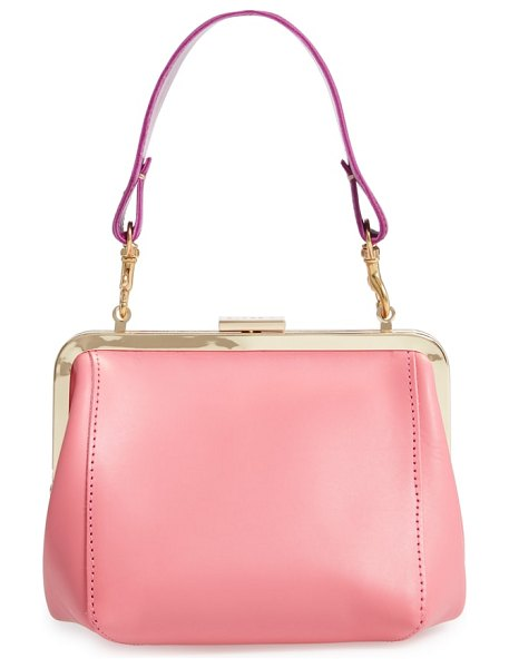 Clare V. le box leather top handle bag in petal - A vintage-inspired, frame silhouette lends a classic...
