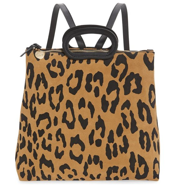 Clare V. marcelle animal print suede backpack in brown