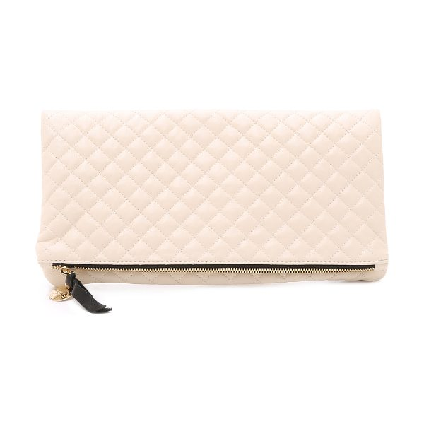 Clare V. Quilted supreme fold over clutch in cream - A quilted leather Clare V. clutch with coin pull at the...