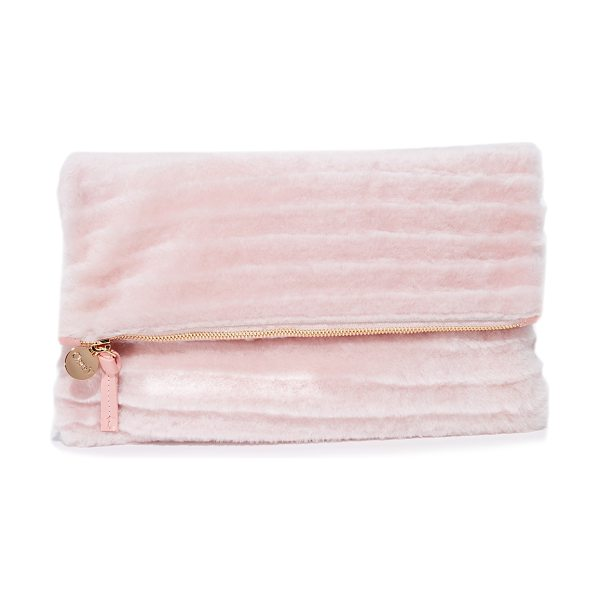 CLARE V. shearling foldover clutch - Plush shearling composes this fold-over Clare V. clutch....