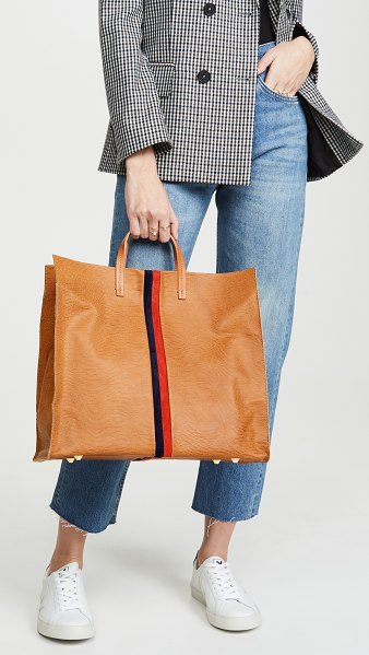 Clare V. simple tote in tan lizard/navy/red
