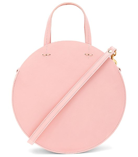 Clare V. Supreme Alistair Petit Bag in ballet veg - Leather exterior with denim fabric lining. Zip top...