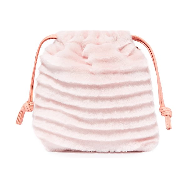 Clare V. supreme drawstring pouch in blush - Wavy textured shearling covers this Clare V. drawstring...