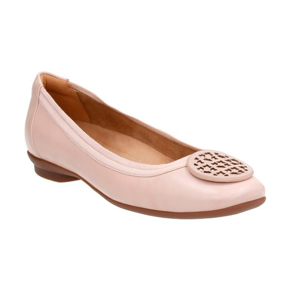 CLARKS clarks 'candra blush' flat in dusty pink leather - Enameled medallion hardware adds a touch of...