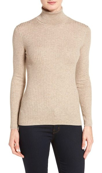 CLASSIQUES ENTIER classiques entier ribbed turtleneck sweater in brown taupe heather - Indispensable fall topping, a slim turtleneck is shaped...