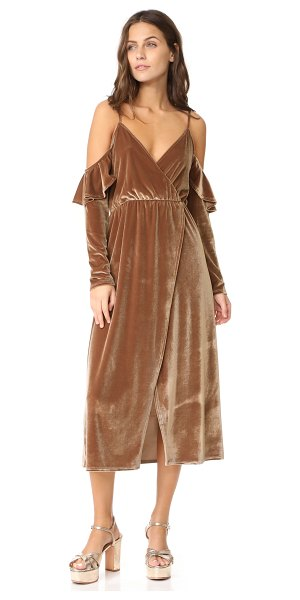 Clayton velour sandee dress in bronze - This retro-inspired CLAYTON dress is composed of soft...