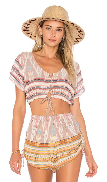 Cleobella Celaya Crop Top in beige - Rayon blend. Hand wash cold. Front button closure....