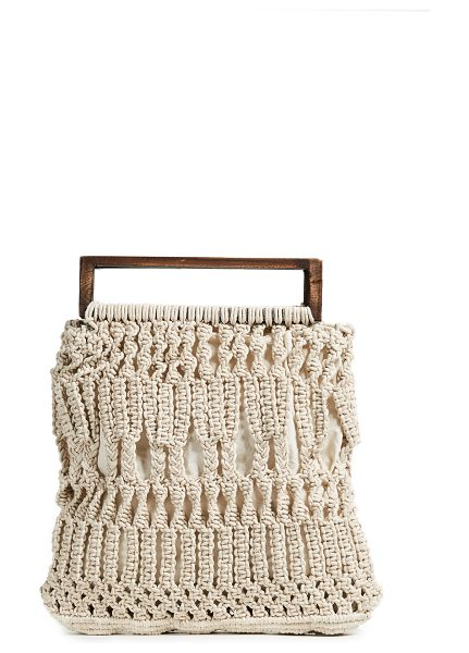 CLEOBELLA finbar tote in ivory/rose gold - Fabric: Crochet Metallic threading Wood handles Patch...
