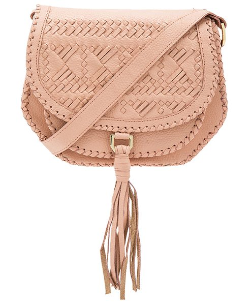 Cleobella Goldie Saddle Bag in blush - Leather exterior with canvas lining. Flap top with...