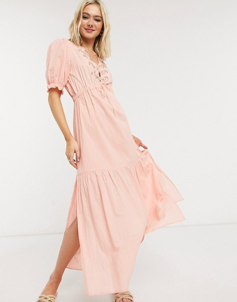 Cleobella hannah midi dress with embroidered in peony-pink in pink