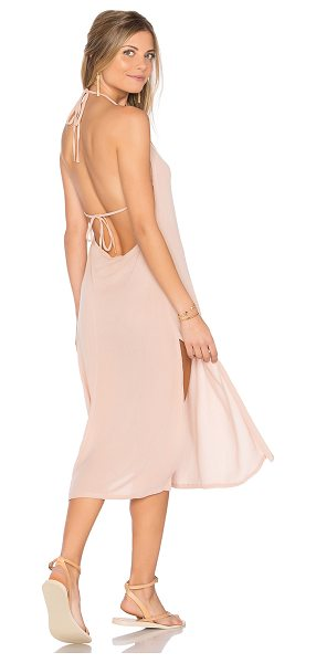 Cleobella Radium Midi Dress in blush - 100% rayon. Hand wash cold. Unlined. Halter strap ties...