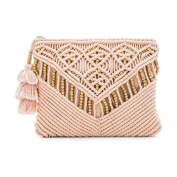 Cleobella Sevigny Clutch in blush - Woven cotton exterior with cotton fabric lining. Zip top...