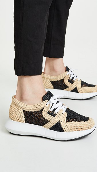Clergerie aero sneakers in noir/natural - Fabric: Woven raffia Flat profile Lace-up at top Rounded...