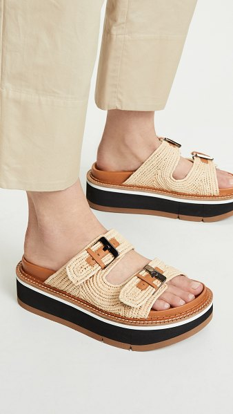 Clergerie aix two band slide sandals in natural raffia - Fabric: Raffia Adjustable strap Molded footbed Leather...