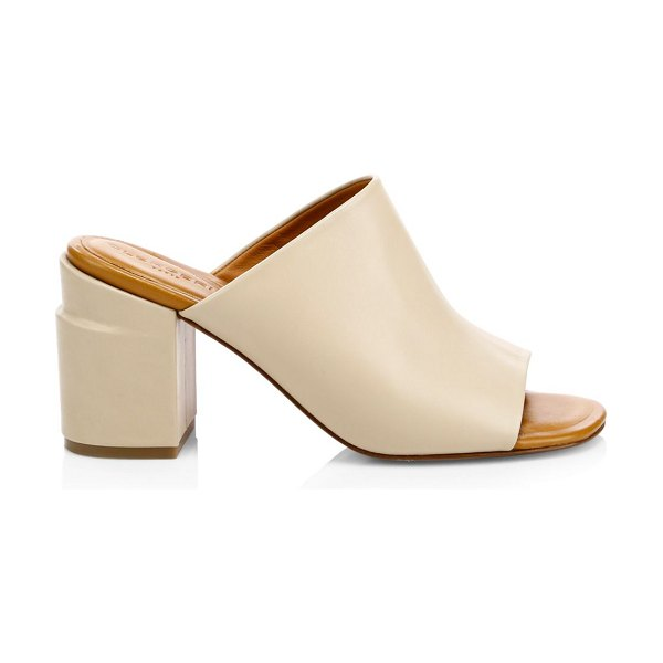 Clergerie allegria block heel mules in clay - A unique step heel is a neat design detail on these...