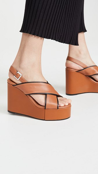 Clergerie mirane wedge sandals in terracotta/black/gold
