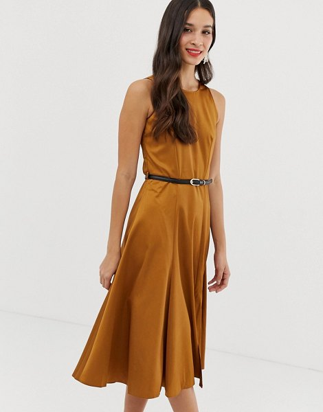 Closet London closet fit and flare panel midi dress in camel