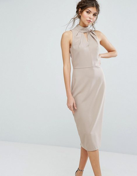Closet London High Neck Midi Dress With Keyhole Detail in beige