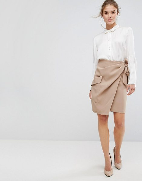 Closet London Closet Pleated Tie Waist Wrap Skirt in beige