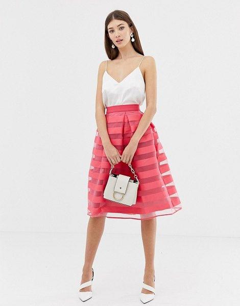 Closet London closet stripe pleat full skirt in pink