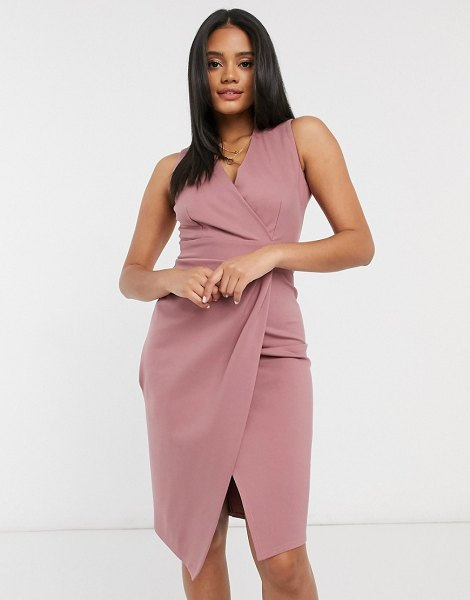 Closet London gathered wrap midi dress in mink-pink in pink