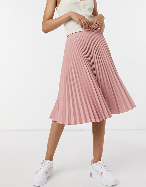 Closet London pleated midi skirt in blush pink in pink