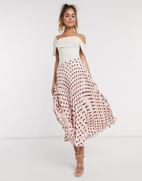 Closet London pleated midi skirt in blush polka dot print-pink in pink
