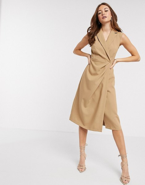 Closet London wrap midi dress in camel-brown in brown