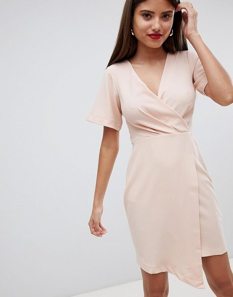 Closet London wrap over midi dress in lightpink