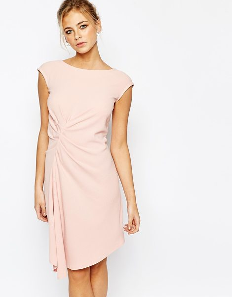 Closet Closet Midi Dress with Cap Sleeve and Gathers in pink - Evening dress by Closet, Unlined crepe, Scoop neck,...