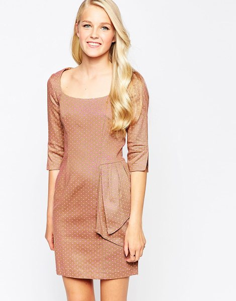 Closet Side detail dress in nude - Dress by Closet Textured woven fabric Boat neckline...