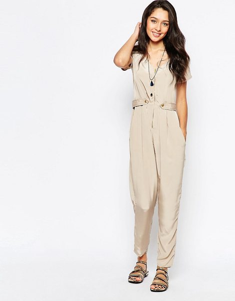 Closet Utility jumpsuit in stone - Jumpsuit by Closet Lightweight woven fabric Unlined...