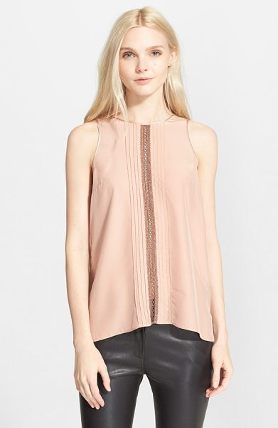 Clover Canyon sleeveless top in blush - An elegant inset of openwork crochet framed with bands...