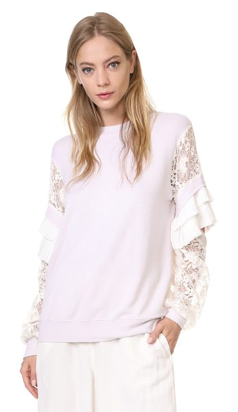 CLU pleat trimmed lace sleeve pullover in dusty pink - This delicate french terry Clu sweatshirt is finished...