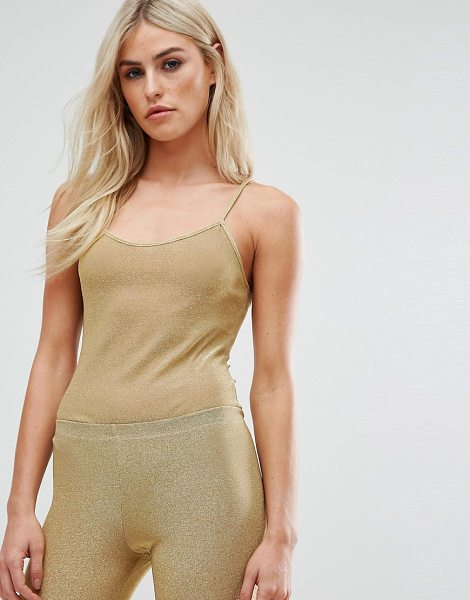 Club L All Over Metallic Jersey Body in gold - Body by Club L, Metallic jersey, Scoop neck, Slim...