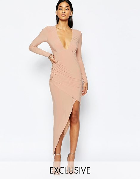 Club L Asymmetric plunge midi dress in nude - Body-Conscious dress by Club L Slinky stretch fabric...