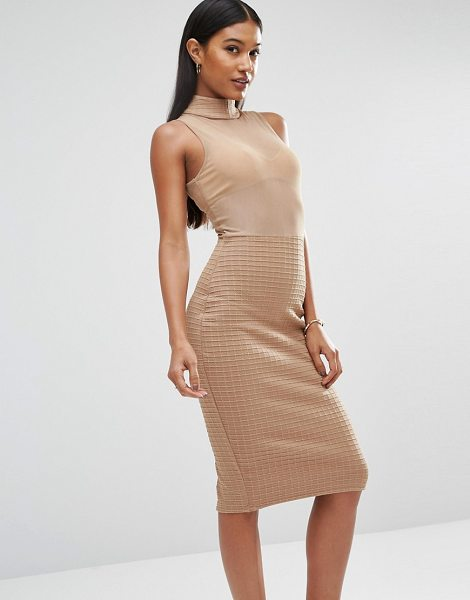 Club L Bandage Mesh Dress in tan - Dress by Club L, Sheer mesh top, High neckline, Textured...