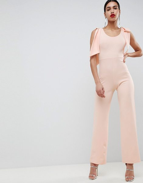 Club L London club l bow shoulder detailed crepe jumpsuit in nude
