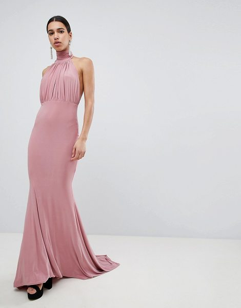 Club L bridesmaid halterneck high neck fishtail maxi dress in blush - Maxi dress by Club L, Some days call for a little extra,...
