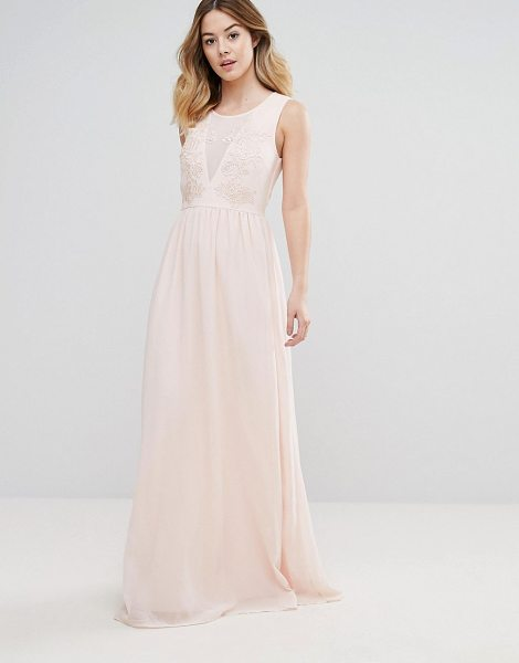 "Club L Bridesmaid Maxi Dress With Rose Embroidery in rosepink36 - """"Maxi dress by Club L, Lined chiffon, Scoop neck,..."