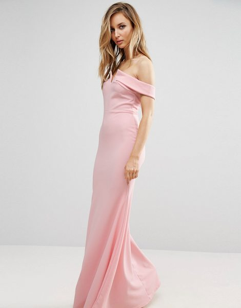 "Club L bridesmaid off shoulder fishtail maxi dress in palepink - """"Maxi dress by Club L, Lightly-textured woven fabric,..."