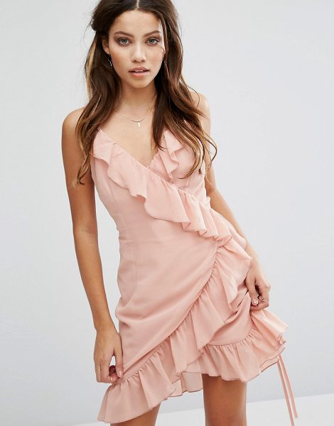 "Club L Cami Strap Ruffle Detailed Wrap Chiffon Dress in pink - """"Dress by Club L, Lightly-textured fabric, V-neck,..."