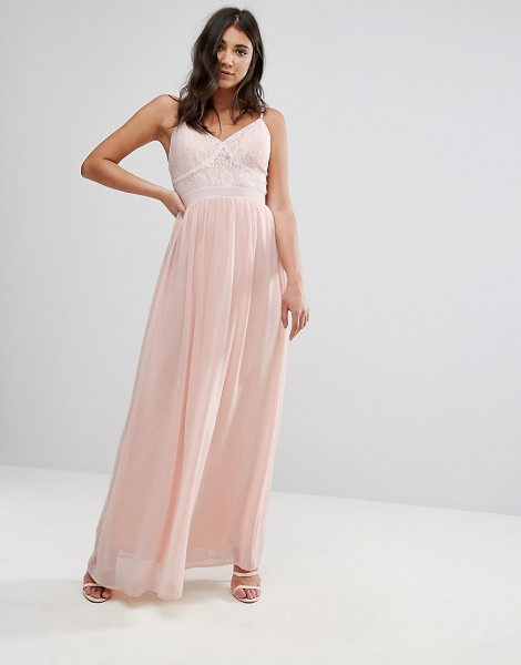 "Club L Corset Lace Detail Maxi Dress in pink - """"Maxi dress by Club L, Woven fabric, V-neck, Lace top,..."