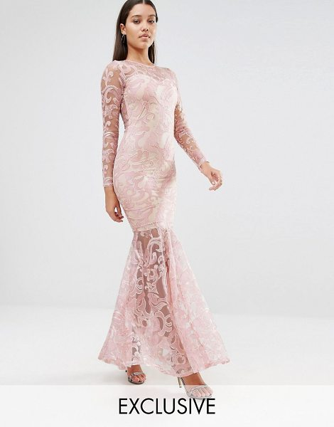 Club L Embroided high neck fishtail maxi dress in nude pink - Maxi dress by Club L Semi-sheer embroidered lace...