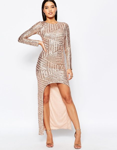 CLUB L Geo sequin fishtail maxi dress with open front - Maxi dress by Club L Sequin embellished fabric Round...