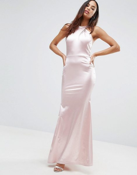 CLUB L Halterneck Detail Satin Fishtail Maxi Dress in pink - Maxi dress by Club L, Satin-style fabric, Halterneck,...
