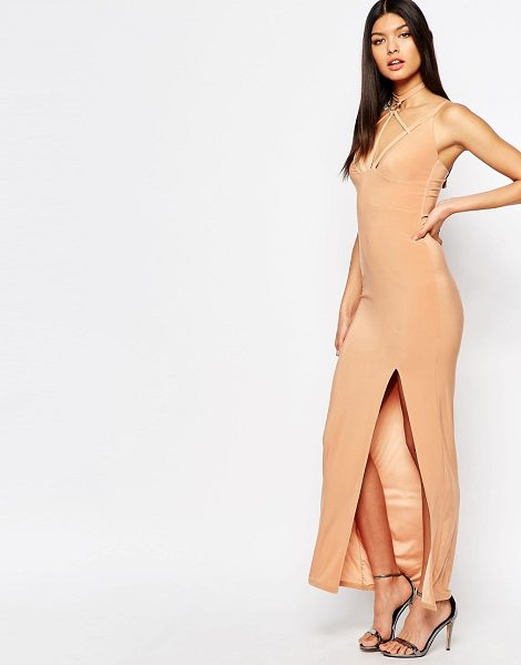 Club L Harness Detailed Maxi Dress in tan - Maxi dress by Club L, Slinky stretch jersey, Plunge...