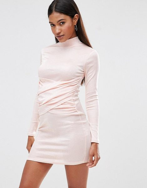Club L High Neck Bodycon Dress With Wrap Front Detail in pink - Bodycon dress by Club L, Knitted fabric, High neckline,...