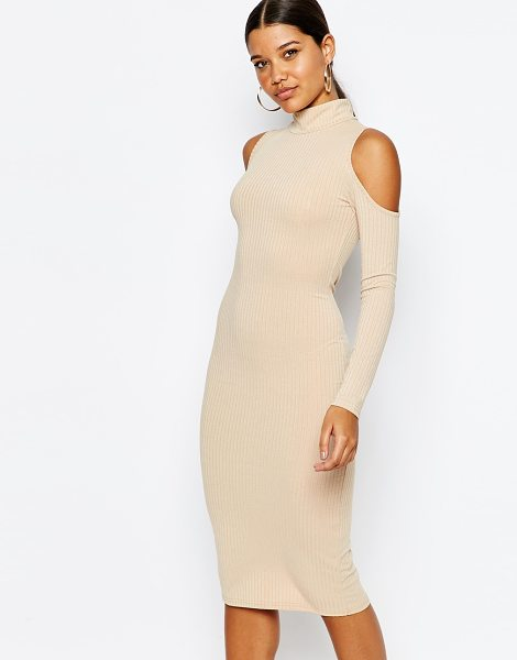 Club L High neck cold shoulder rib dress in nude - Dress by Club L Ribbed stretch jersey Turtle neckline...